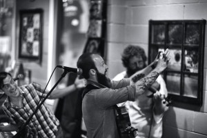 Shadwick takes a selfie of himself and the audience at People's Brewing (Click to enlarge)
